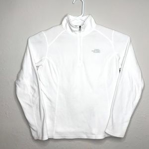 The North Face White 1/4 Zip Sz M Pullover Fleece